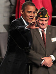 Presiden Barack Obama waves to the crowd after his speech at the 113th National Convention of the Veterans of Foreign Wars in Reno, Nev., on Monday, July 23, 2012..Photo by Cathleen Allison