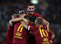 Calcio, Serie A: Roma - Atalanta, Stadio Olimpico, 27 agosto, 2018.<br /> Roma's Javier Pastore celebrates after scoring with his teammates during the Italian Serie A football match between Roma and Atalanta at Roma's Stadio Olimpico, August 27, 2018.<br /> UPDATE IMAGES PRESS/Isabella Bonotto