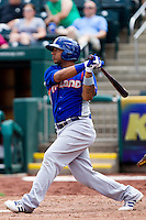 Tyler Ladendorf (5) of the Midland RockHounds follows through on his swing during a game against the Springfield Cardinals on April 19, 2011 at Hammons Field in Springfield, Missouri.  Photo By David Welker/Four Seam Images