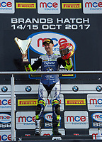 Christian Iddon of Tyco BMW Motorrad with the Riders Trophy after the final race in MCE British Superbikes in Association with Pirelli round 12 2017 - BRANDS HATCH (GP) at Brands Hatch, Longfield, England on 15 October 2017. Photo by Alan  Stanford / PRiME Media Images.