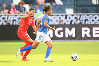 KANSAS CITY, KS - JULY 15: Martin Experience #17 of Haiti with the ball during a game between Canada and Haiti at Children's Mercy Park on July 15, 2021 in Kansas City, Kansas.