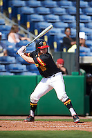 Maryland Terrapins catcher Dan Maynard (11) at bat during a game against the Alabama State Hornets on February 19, 2017 at Spectrum Field in Clearwater, Florida.  Maryland defeated Alabama State 9-7.  (Mike Janes/Four Seam Images)
