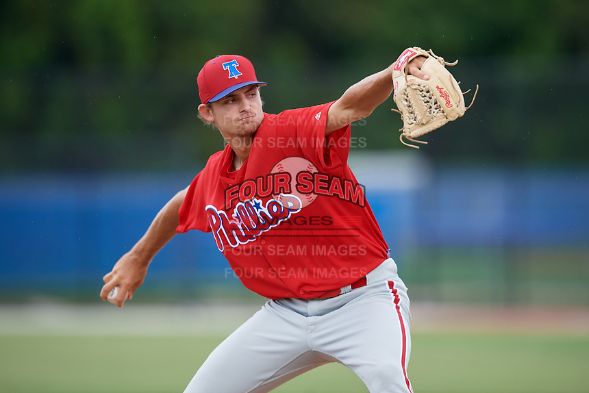 GCL Phillies West relief pitcher Tom Sutera (67) delivers a pitch during a game against the GCL Blue Jays on August 7, 2018 at Bobby Mattick Complex in Dunedin, Florida.  GCL Blue Jays defeated GCL Phillies West 11-5.  (Mike Janes/Four Seam Images)