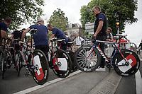 Team IAM bringing in the bikes for UCI-inspection at the start<br /> <br /> stage 9: TTT Vannes - Plumelec (28km)<br /> 2015 Tour de France