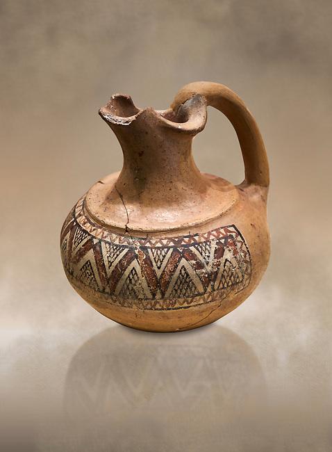Phrygian terracotta trefoil jug decorated with geometric designs . 8th-7th century BC . Çorum Archaeological Museum, Corum, Turkey