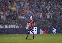 EAST HARTFORD, CT - JULY 1: Emily Sonnett #14 of the USWNT stands in the rain during a game between Mexico and USWNT at Rentschler Field on July 1, 2021 in East Hartford, Connecticut.