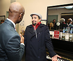 """Donald Webber Jr. and Lin-Manuel Miranda backstage after a Song preview performance of the Bebe Winans Broadway Bound Musical """"Born For This"""" at Feinstein's 54 Below on November 5, 2018 in New York City."""