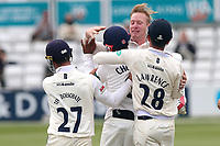 Simon Harmer of Essex is congratulated by his team mates after taking the wicket of Stevie Eskinazi during Essex CCC vs Middlesex CCC, Specsavers County Championship Division 1 Cricket at The Cloudfm County Ground on 29th June 2017