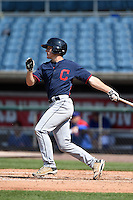 Jacob Washer (27) of West Stokes High School in King, North Carolina playing for the Cleveland Indians scout team during the East Coast Pro Showcase on July 31, 2014 at NBT Bank Stadium in Syracuse, New York.  (Mike Janes/Four Seam Images)