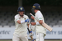 Will Young (R) congratulates Scott Borthwick on reaching his fifty for Durham during Essex CCC vs Durham CCC, LV Insurance County Championship Group 1 Cricket at The Cloudfm County Ground on 15th April 2021