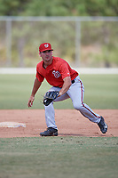Washington Nationals Jake Noll (13) during practice before a minor league Spring Training game against the St. Louis Cardinals on March 27, 2017 at the Roger Dean Stadium Complex in Jupiter, Florida.  (Mike Janes/Four Seam Images)