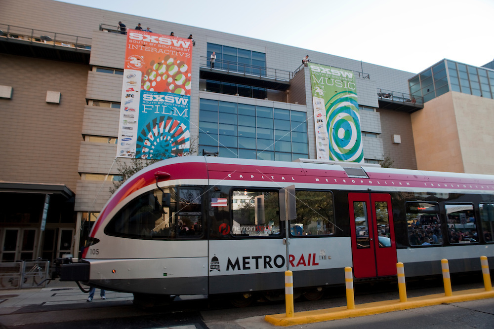 Capital Metro Rail - Convention Center Station at the downtown Austin Convention Center serves Annual Music, Film, and Interactive Conference and Festival attendees