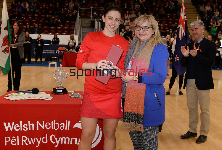 Wales Suzy Drane (Capt) receives her 80th Cap award  <br /> <br /> Swansea University International Netball Test Series: Wales v New Zealand<br /> Ice Arena Wales<br /> 08.02.17<br /> ©Ian Cook - Sportingwales