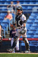 Richmond Flying Squirrels catcher Eliezer Zambrano (2) during a game against the Binghamton Mets on June 26, 2016 at NYSEG Stadium in Binghamton, New York.  Binghamton defeated Richmond 7-2.  (Mike Janes/Four Seam Images)