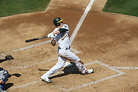 OAKLAND, CA - SEPTEMBER 14:  Jack Cust of the Oakland Athletics bats during the game against the Texas Rangers at the McAfee Coliseum in Oakland, California on September 14, 2008.  The Athletics defeated the Rangers 7-4.  Photo by Brad Mangin