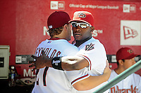 Apr. 5, 2010; Phoenix, AZ, USA; Arizona Diamondbacks outfielder Justin Upton hugs Mark Reynolds against the San Diego Padres during opening day at Chase Field. Mandatory Credit: Mark J. Rebilas-