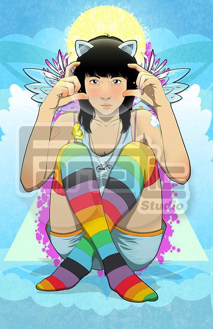 Illustration of teenage girl making finger frame outdoors
