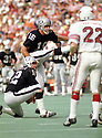 Oakland Raiders George Blanda (16) during a game from his 1972 season with the Oakland Raiders. Blanda played for 26 years, with 4 different teams was a 4-time Pro Bowler, and was inducted to the Pro Football Hall of Fame in 1981.(SportPics)