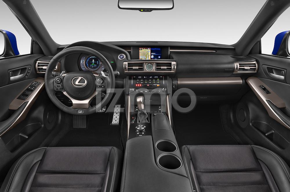 Stock photo of straight dashboard view of a 2015 Lexus IS F SPORT LINE 4 Door Sedan Dashboard