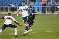 SAN JOSE, CA - OCTOBER 07: Tommy Thompson #22 of San Jose Earthquakes during a game between Vancouver Whitecaps and San Jose Earthquakes at Earthquakes Stadium on October 07, 2020 in San Jose, California.