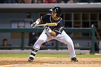 Carlos Sanchez (13) of the Charlotte Knights squares to bunt against the Pawtucket Red Sox at BB&T Ballpark on August 9, 2014 in Charlotte, North Carolina.  The Red Sox defeated the Knights  5-2.  (Brian Westerholt/Four Seam Images)