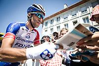 Thibaut Pinot (FRA/Groupama FDJ) handing out signatures at the start in Saint-Dié-des-Vosges<br /> <br /> Stage 5: Saint-Dié-des-Vosges to Colmar (175km)<br /> 106th Tour de France 2019 (2.UWT)