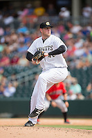 Charlotte Knights relief pitcher Matt Lollis (46) in action against the Indianapolis Indians at BB&T BallPark on June 19, 2016 in Charlotte, North Carolina.  The Indians defeated the Knights 6-3.  (Brian Westerholt/Four Seam Images)