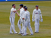 Yorkshire's Jordan Thompson (L) is congratulated after  taking the wicket of Jack Leaning during Kent CCC vs Yorkshire CCC, LV Insurance County Championship Group 3 Cricket at The Spitfire Ground on 18th April 2021