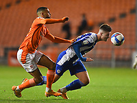 Blackpool's CJ Hamilton battles with Wigan Athletic's Adam Long<br /> <br /> Photographer Dave Howarth/CameraSport<br /> <br /> The EFL Sky Bet League One - Blackpool v Wigan Athletic - Tuesday 3rd November 2020 - Bloomfield Road - Blackpool<br /> <br /> World Copyright © 2020 CameraSport. All rights reserved. 43 Linden Ave. Countesthorpe. Leicester. England. LE8 5PG - Tel: +44 (0) 116 277 4147 - admin@camerasport.com - www.camerasport.com