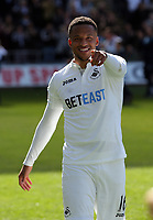 Matrin Olsson of Swansea City points to the camera after the Premier League match between Swansea City and West Bromwich Albion at The Liberty Stadium, Swansea, Wales, UK. Sunday 21 May 2017