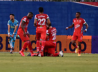 MONTERIA - COLOMBIA -21-02-2011: Jugadores de Patriotas Boyaca F. C. celebran el gol anotado al Jaguares de Cordoba F.C. durante partido entre Jaguares F. C. y Patriotas Boyaca F. C. de la fecha 11 por la Liga BetPlay DIMAYOR I 2021, en el estadio Jaraguay de Monteria de la ciudad de Monteria. / Players of Patriotas Boyaca F. C.  celebrate a scored goal to Jaguares de Cordoba F.C. during a match between Jaguares de Cordoba F.C. and Patriotas Boyaca F. C., of the 11th date for the Betplay DIMAYOR I 2021 League at Jaraguay de Monteria Stadium in Monteria city. Photo: VizzorImage / Andres Lopez / Cont.