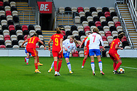 Natasha Harding of Wales Women's scores her side's second goal during the UEFA Women's EURO 2022 Qualifier match between Wales Women and Faroe Islands Women at Rodney Parade in Newport, Wales, UK. Thursday 22 October 2020
