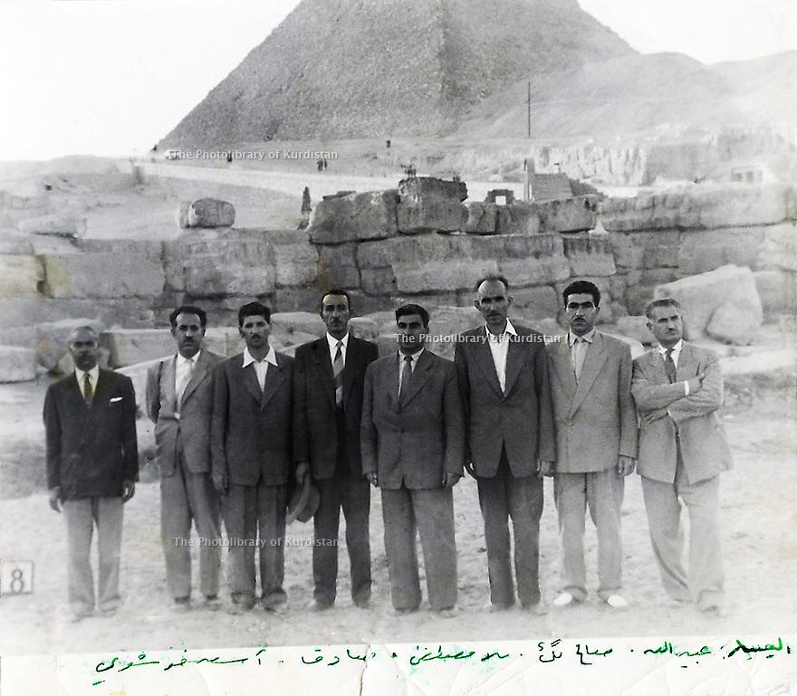 Egypt 1958.A Kurdish delegation visiting the pyramids from left to right, the second Nouri Ahmed Tala, Assad Khoshavi, Saddik Babo, Mustafa Barzani back from USSR, Saleh Beg Khoshnoo,Obeidolla Barzani and Ibrahim Ahmed.