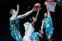 July 14, 2016: TRA HOLDER (6) of the Arizona State Sun Devils takes a shot during game 2 of the Australian Boomers Farewell Series between the Australian Boomers and the American PAC-12 All-Stars at Hisense Arena in Melbourne, Australia. Sydney Low/AsteriskImages.com