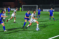 Arnolda Antonia Geraedts Kelsey (17) of KRC Genk and Perrine Balant (9) of Sporting du Pays de Charleroi pictured during a female soccer game between  Racing Genk Ladies and Sporting du pays de Charleroi on the fourth matchday of the 2021-2022 season of the Belgian Scooore Womens Super League , friday 10 September 2021  in Genk , Belgium . PHOTO SPORTPIX | STIJN AUDOOREN