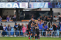 SAN JOSE, CA - FEBRUARY 29: Oswaldo Alanis #4 of the San Jose Earthquakes celebrates scoring with teammates during a game between Toronto FC and San Jose Earthquakes at Earthquakes Stadium on February 29, 2020 in San Jose, California.