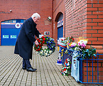 02.01.2020 Ibrox disaster memorial service: John Greig places a wreath at the base of the statue to remember the fans in the Ibrox Disasters