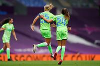 21st August 2020, San Sebastian, Spain;  Pernille Harder Wolfsburg and Joelle Wedemeyer Wolfsburg celebrate during the UEFA Womens Champions League football match Quarter Final between Glasgow City and VfL Wolfsburg.