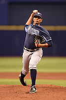 Tampa Bay Rays pitcher Enderson Franco (83) during an Instructional League game against the Boston Red Sox on September 25, 2014 at Tropicana Field in St. Petersburg, Florida.  (Mike Janes/Four Seam Images)