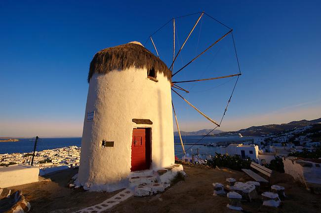 The Folklore Museum  Bonis windmill. Mykonos Upper Chora. Cyclades Islands, Greece
