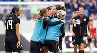 Stephanie Cox, Tobin Heath, Lauren Cheney, Megan Rapinoe. The USWNT defeated Mexico, 1-0, during the game at Red Bull Arena in Harrison, NJ.