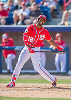 7 March 2016: Washington Nationals outfielder Brian Goodwin in action during a Spring Training pre-season game against the Miami Marlins at Space Coast Stadium in Viera, Florida. The Nationals defeated the Marlins 7-4 in Grapefruit League play. Mandatory Credit: Ed Wolfstein Photo *** RAW (NEF) Image File Available ***
