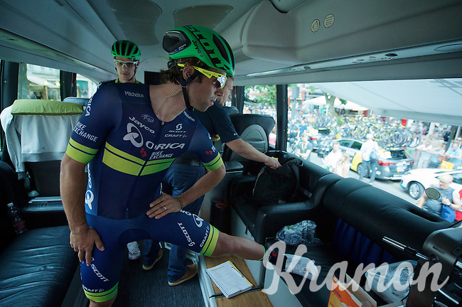 Michael 'Bling' Matthews (AUS/Orica-BikeExchange) stretching inside the teambus before heading to the start of the final stage<br /> <br /> Final stage 21 - Chantilly › Paris/Champs Elysées (113km)<br /> 103rd Tour de France 2016