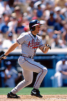 Walt Weiss of the Atlanta Braves participates in a Major League Baseball game at Dodger Stadium during the 1998 season in Los Angeles, California. (Larry Goren/Four Seam Images)