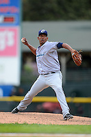 Columbus Clippers relief pitcher Jerry Gil #49 during a game against the Rochester Red Wings on May 12, 2013 at Frontier Field in Rochester, New York.  Rochester defeated Columbus 5-4.  (Mike Janes/Four Seam Images)
