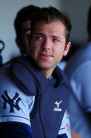 Austin Romine (7) of the Scranton/Wilkes-Barre RailRiders during a game versus the Pawtucket Red Sox at McCoy Stadium on May 27, 2015 in Pawtucket, Rhode Island. (Ken Babbitt/Four Seam Images)