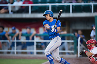 Ogden Raptors third baseman Marcus Chiu (13) follows through on his swing during a Pioneer League game against the Orem Owlz at Home of the OWLZ on August 24, 2018 in Orem, Utah. The Ogden Raptors defeated the Orem Owlz by a score of 13-5. (Zachary Lucy/Four Seam Images)