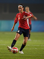 Ingvild Stensland. The US lost to Norway, 2-0, during first round play at the 2008 Beijing Olympics in Qinhuangdao, China.