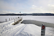 Newfound Lake from the shore of Wellington State Park during the winter months.. Located in Bristol, New Hampshire USA