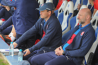 20190306 - LARNACA , CYPRUS : Czech head coach Karel Rada (right) pictured during a women's soccer game between Czech Republic and Mexico , on Wednesday 6 March 2019  at the Antonis Papadopoulos Stadium in Larnaca , Cyprus . . This last game for both teams which decides for places 5 and 6 of the Cyprus Womens Cup 2019 , a prestigious women soccer tournament as a preparation on the Uefa Women's Euro 2021 qualification duels. PHOTO SPORTPIX.BE | STIJN AUDOOREN